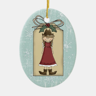 Pretty Western Cowgirl Gift Tag Keepsake Double-Sided Oval Ceramic Christmas Ornament