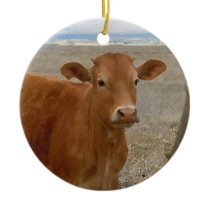 Pretty Western Red Cattle Cows Two-sided Ceramic Ornament