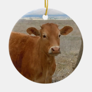 Pretty Western Red Cattle Cows Two-sided Double-Sided Ceramic Round Christmas Ornament
