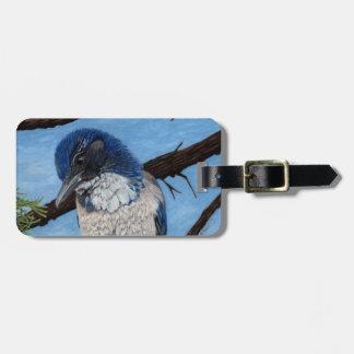 Pretty Western Scrub Jay Bird Travel Bag Tag
