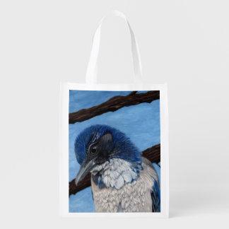 Pretty Western Scrub Jay Bird Reusable Grocery Bag