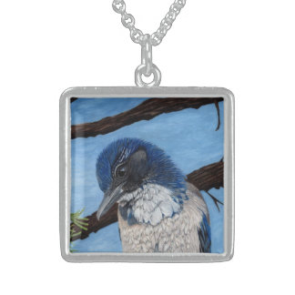 Pretty Western Scrub Jay Bird Square Pendant Necklace