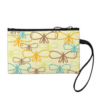 Pretty Whimsical Dragonfly Line Art Butterflies Change Purses