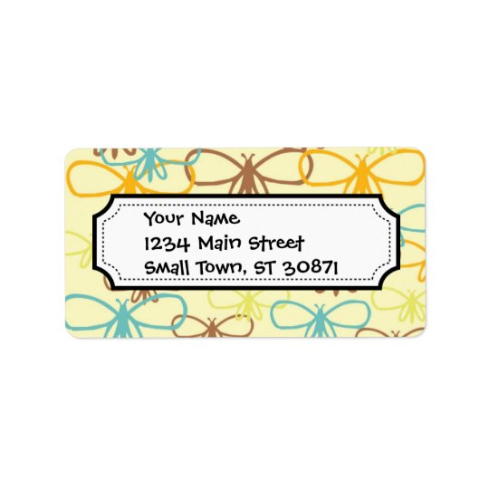 Pretty Whimsical Dragonfly Line Art Butterflies Label
