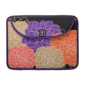 Pretty Whimsical Floral Purple and Orange Print MacBook Pro Sleeves
