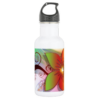 Pretty Whimsical Flower 18oz Water Bottle