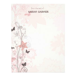 Pretty Whimsical Spring Flowers Writing Stationary Letterhead