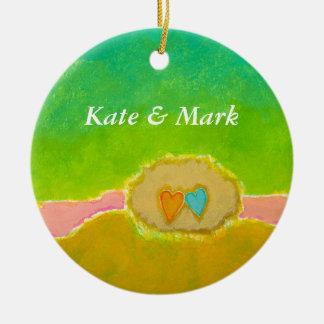Pretty whimsical wedding art Summer Love Protected Ceramic Ornament