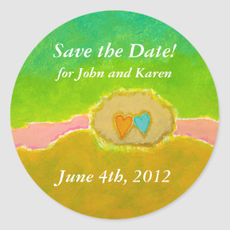 Pretty whimsical wedding art Summer Love Protected Classic Round Sticker