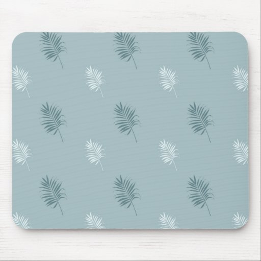 Pretty White and Blue and Leaves Mousepads