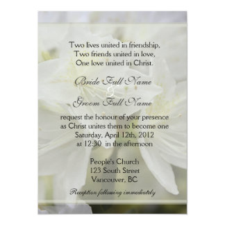 Pretty white azalea flowers Christian wedding Card