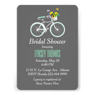 Pretty White Bicycle Bridal Shower Invitation