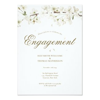 Pretty White Blossom Engagement Party Invitation