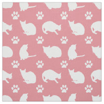 Pretty White Cats and Paws Print Fabric