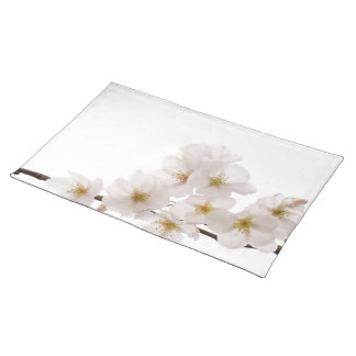 Pretty White Cherry Blossoms Placemats