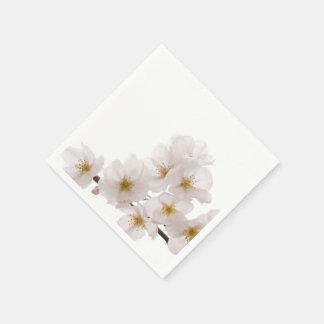 Pretty White Cherry Blossoms Paper Napkins