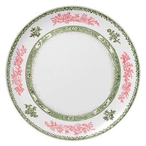 pretty white china look plate pink and green trim