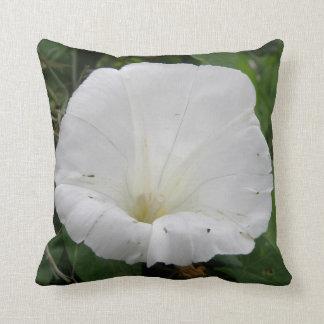 Pretty White Convolvulus Flower Pillow
