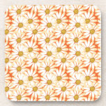 Pretty White Daisies Floral Pattern Beverage Coasters