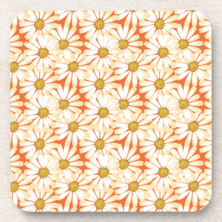 Pretty White Daisies Floral Pattern Drink Coaster