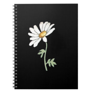 Pretty White Daisy on Black Spiral Note Book