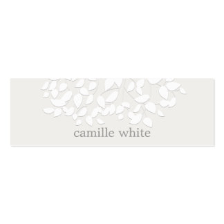 Pretty White Embossed Look Leaves Double-Sided Mini Business Cards (Pack Of 20)