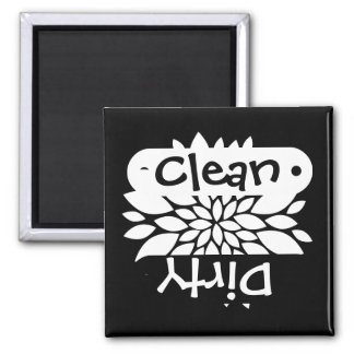Pretty White Flower Clean Dirty Dishwasher Magnets
