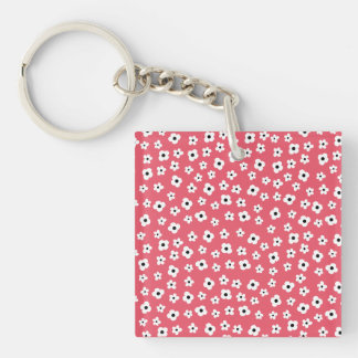 Pretty White Flower Pattern  - Coral Background Keychain