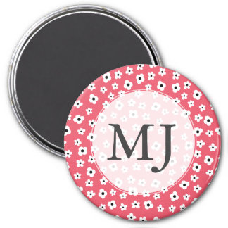 Pretty White Flower Pattern - Coral Background Magnet