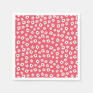Pretty White Flower Pattern - Coral Background Paper Napkin