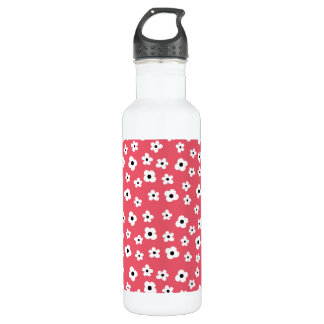 Pretty White Flower Pattern - Coral Background Water Bottle