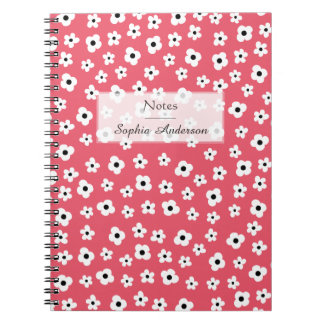 Pretty White Flower Pattern - Coral Customizable Spiral Notebook