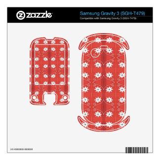 pretty white flower pattern on red samsung gravity 3 skin