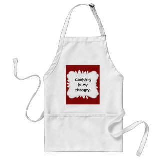 Pretty White Flower Petal Art on Red Adult Apron