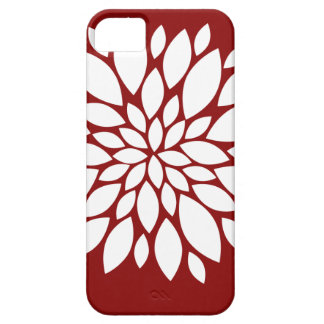 Pretty White Flower Petal Art on Red iPhone SE/5/5s Case