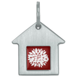 Pretty White Flower Petal Art on Red Pet Tag