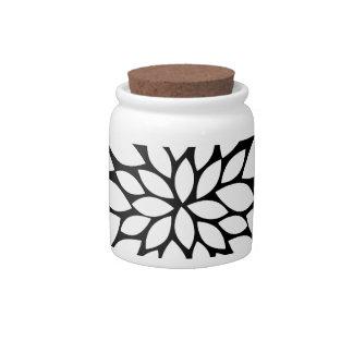Pretty White Flower Petals Art on Black Candy Dish