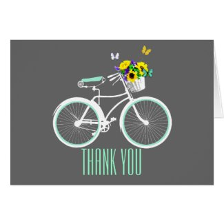 Pretty White Girly Bicycle Thank You Note Card