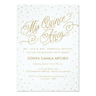 Pretty White & Gold Stars Quinceañera Party Card