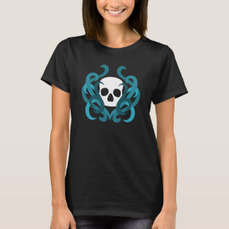 Pretty white gothic skull and blue swirls T-Shirt