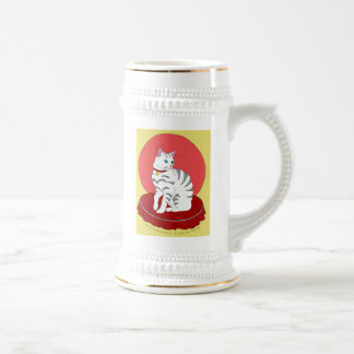 Pretty White Kitty Beer Stein