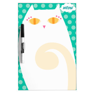 Pretty White Kitty Dry Erase Board