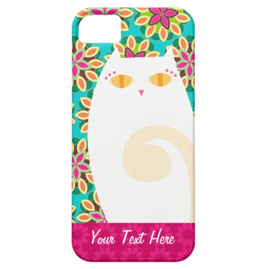 Pretty White Kitty on Floral Custom iPhone 5 Case