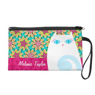 Pretty White Kitty on Floral - Custom Mini Bag Wristlet