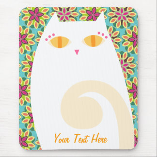 Pretty White Kitty on Floral - Custom Mousepad