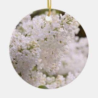 Pretty White Lilacs Photo Ceramic Ornament