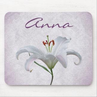 Pretty White Lily Flower Mousepads