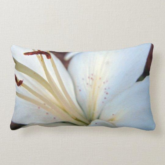 Pretty White Lily Lumbar Pillow