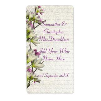 Pretty white mauve floral wedding wine bottle label