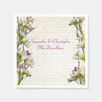 Pretty white mauve lilac floral country wedding standard cocktail napkin